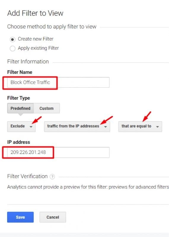 """Select Exclude > traffic from the IP address > that are equal to. Then enter your IP address and click """"Save."""""""