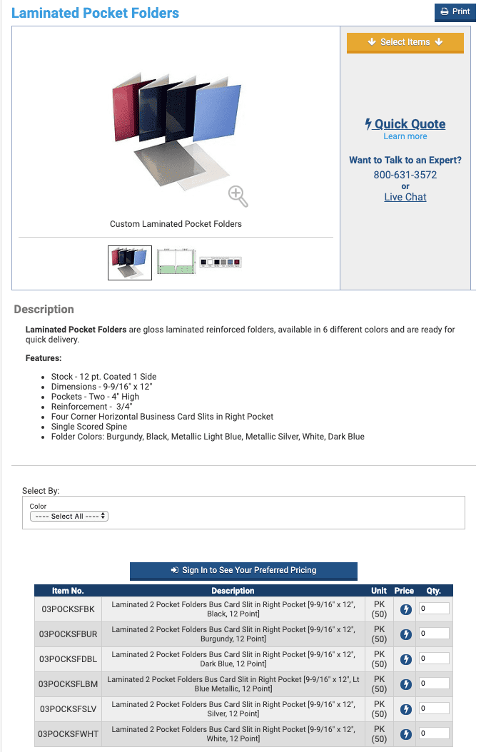 """The product page for """"Laminated Pocket Folders"""" on SpiralBinding.com has little content."""