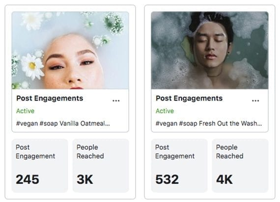 Examples of the results of boosted posts. These ads encourage interaction but do not lead to site traffic or sales.