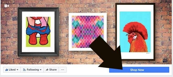 """Facebook ads can be used to encourage your audience of potential customers to click the call to action button at the top of your page. For many ecommerce company's this will be a """"Shop Now"""" button."""