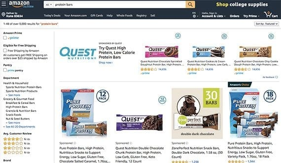 """Amazon's organic search results favor the best-selling products relevant to the query. In this case, that means being the first organic result for """"protein bars"""" out of 9,000."""