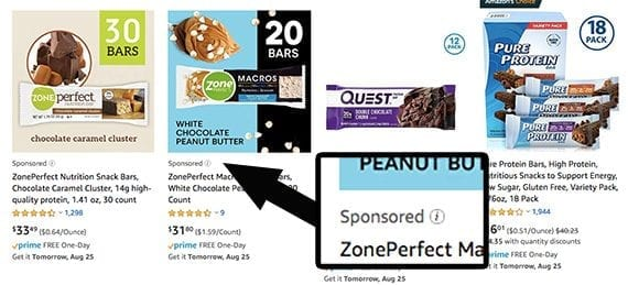 """Sponsored Products ads look almost identical to organic search results. Only the tiny """"Sponsored"""" label identifies them."""