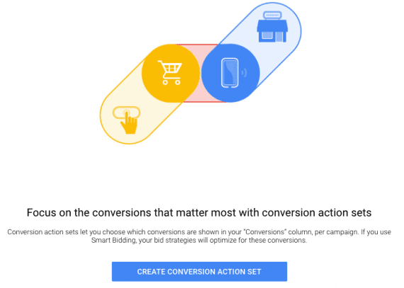 "In the ""Conversions"" section, click ""Create Conversion Action Set"" to get started."