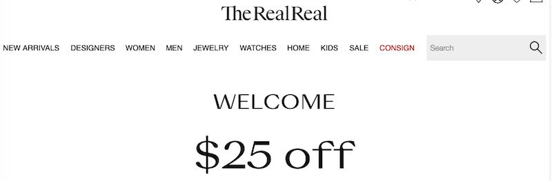 TheRealReal home page