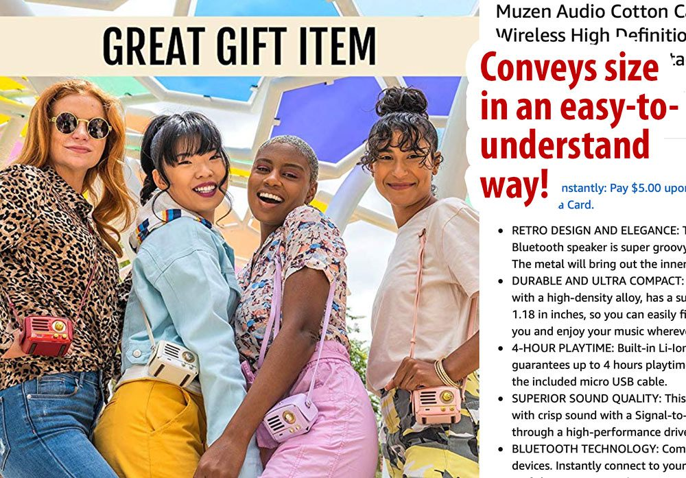 Models wear a mini Bluetooth speaker in a fun photo to better convey the size of the item.