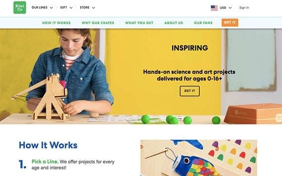 Subscription boxes make good Christmas gifts and improve customer retention rates. This example is from KiwiCo, a provider of youth art projects.