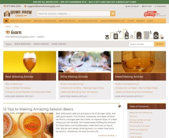 Home Brew Supply's blog homepage