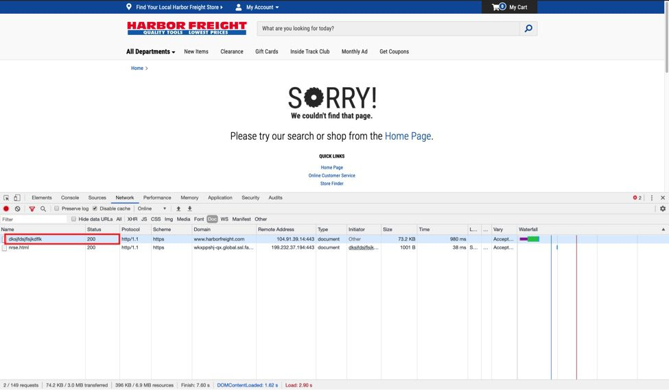 Harbor Freight displays an error page when the URL doesn't exist but presents an incorrect 200 status code to the search engines.