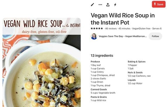Pinterest displays the recipe next to the image you share. The pin will link directly to your recipe blog post.