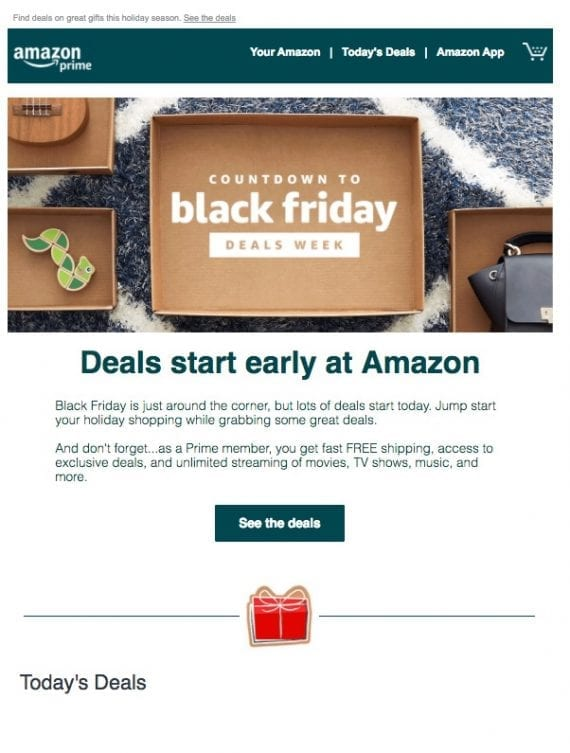 Teaser messages inform shoppers of what they can expect during Black Friday and Cyber Monday. Teasers also lower unsubscribes.
