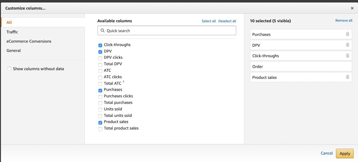 Select the metrics that are most important to you, the advertiser-seller.