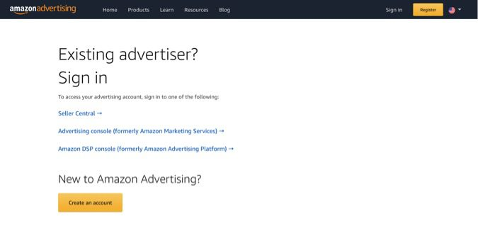 Sign up for an advertising account at Advertising.Amazon.com.