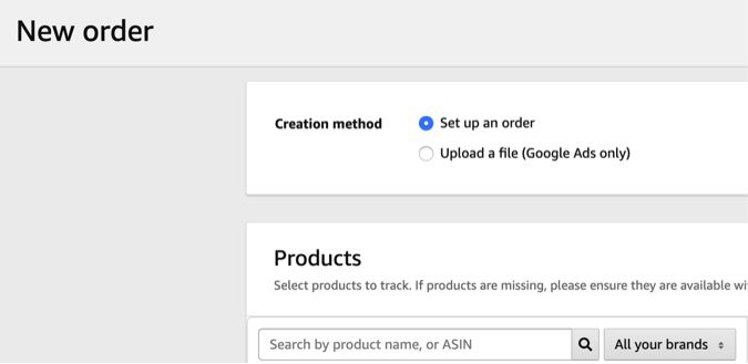 The first step in generating tracking tags is to create an order.