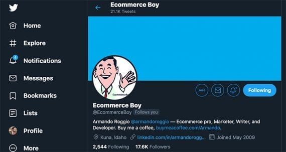 Twitter can be displayed in dark mode. Expect ecommerce sites to begin offering dark mode in 2020.