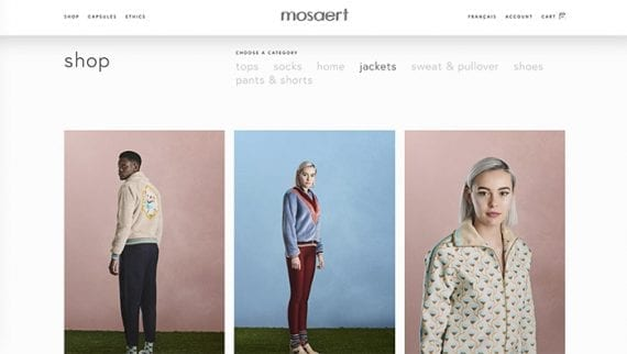Fashion retailer Mosaert uses plenty of white space, large fonts, and simple navigation on its ecommerce site.