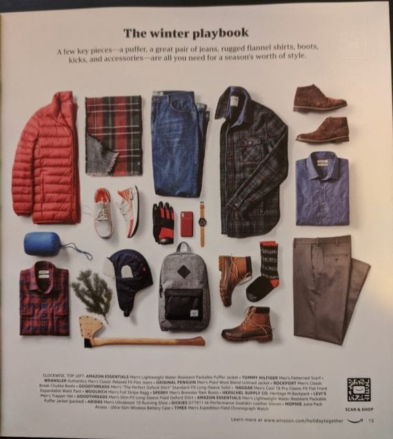 The winter clothing page has multiple curated items.
