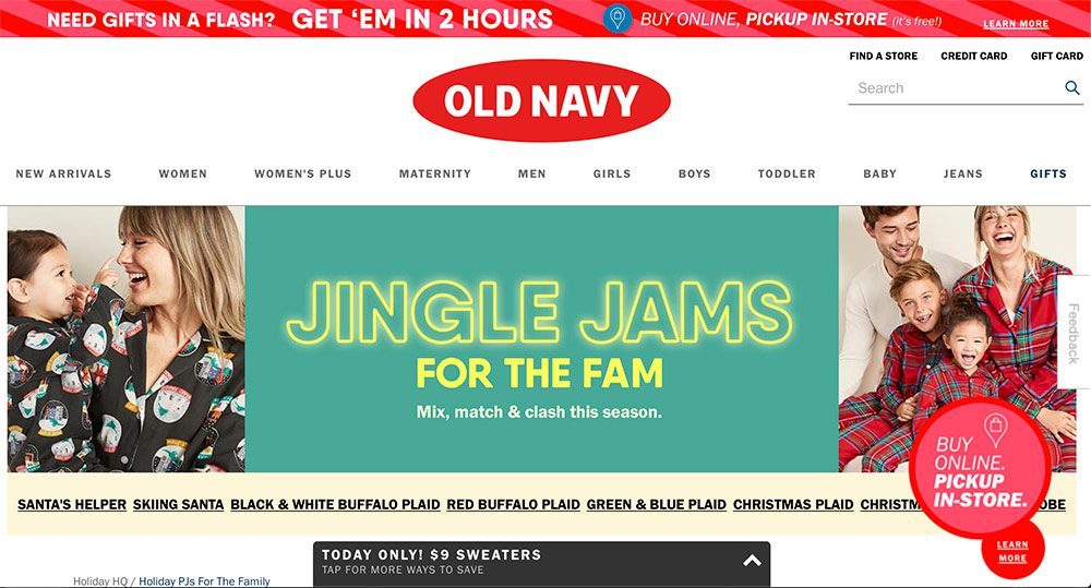 Old Navy's red logo for the holidays