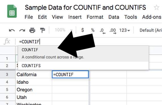Google Sheets will recognize the COUNTIF formula as you start to type it.