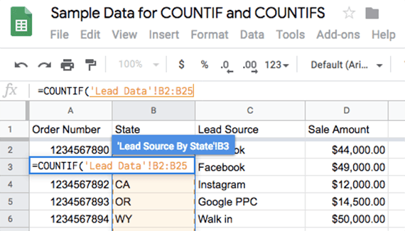 The range should appear as you select it in the Google Sheets' formula bar. Then type a comma and the criterion value.
