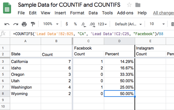 Use the COUNTIFS formula for each state and each lead source. The resulting count can be divided by the total number of converted leads for the state to get a percentage.