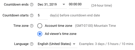 The countdown setup includes (i) when the countdown ends, (ii) when it starts, (iii) the applicable time zone, and (iv) the language.