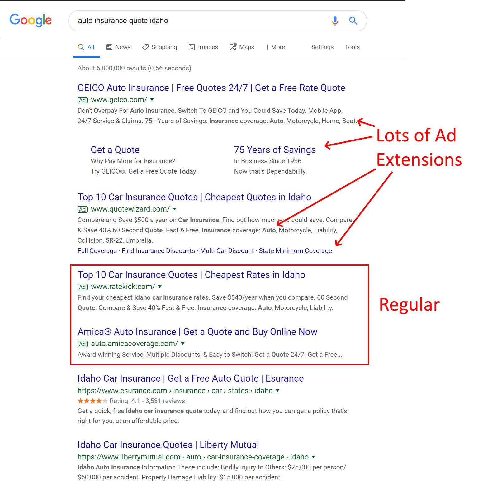 """Regular"" search ads include the basics: headlines, description, and a URL. Many ads, however, also include extensions."