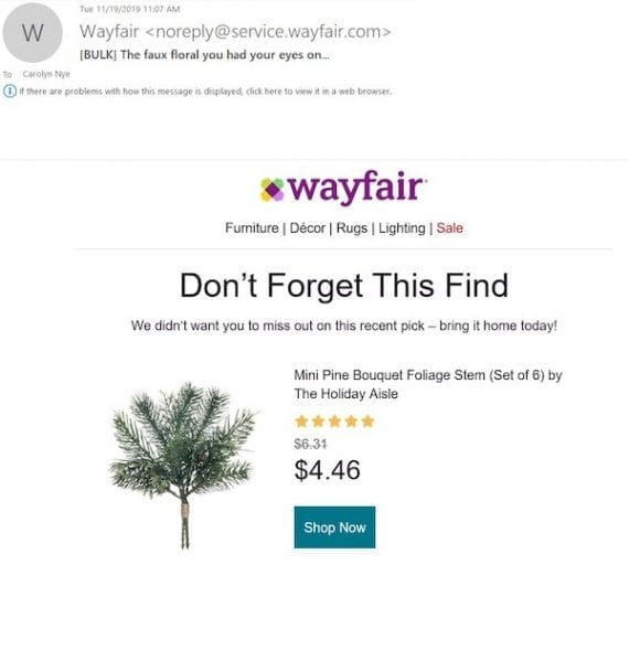 This initial browse-recovery email from Wayfair featured a product that the author had viewed.