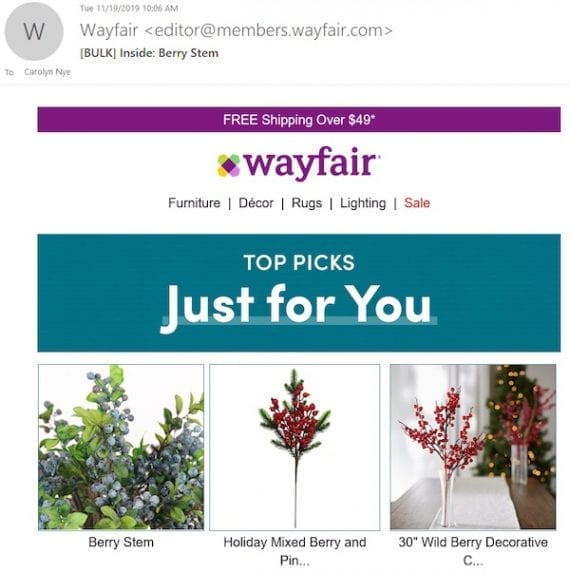 Wayfair's second browse-recovery email featured recommendations based on the item viewed.