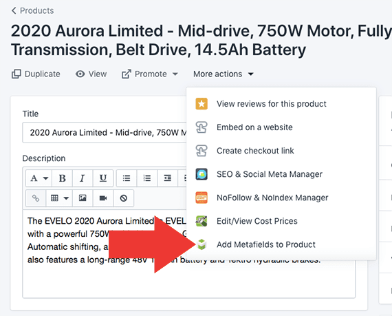 """Use the """"More actions"""" dropdown menu to access the metafields for this particular app."""