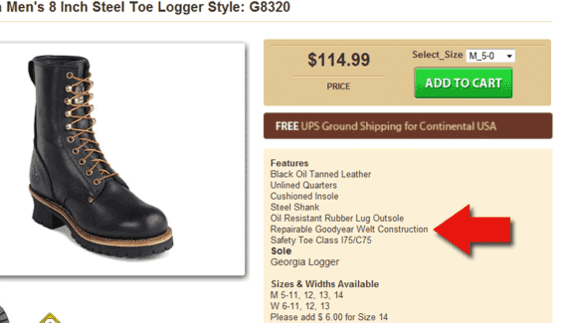 """The product description includes """"Repairable Goodyear Welt Construction."""" Many consumers will not understand that term."""