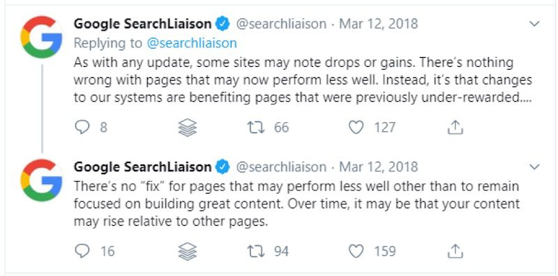 """Google's Danny Sullivan (@searchliaison) explained the March 2019 core update in a tweet, stating that it benefits """"pages that were previously under-rewarded…"""""""