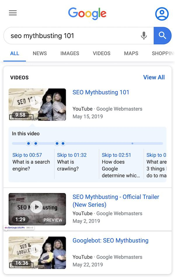 Video rich results