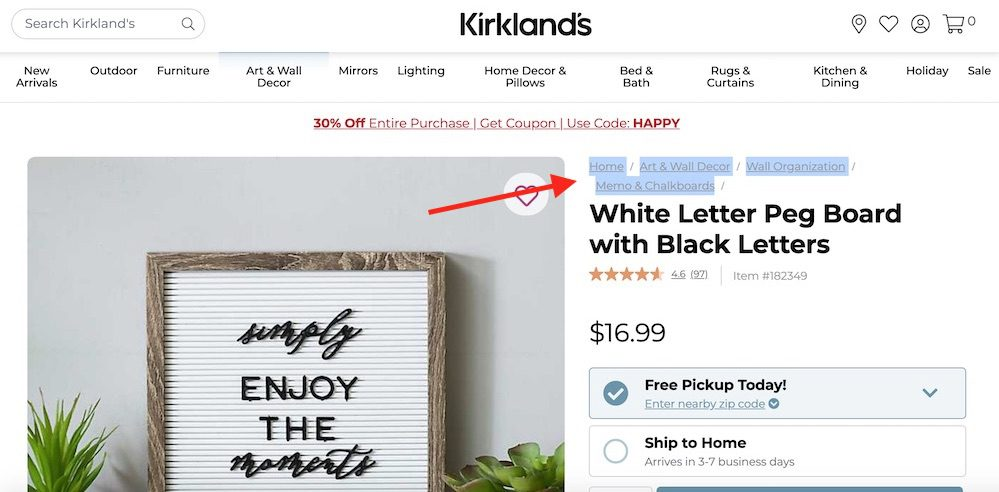 "Kirkland's does not use structured data for its breadcrumb, as confirmed by testing the ""White Letter Peg Board with Black Letters"" product page."