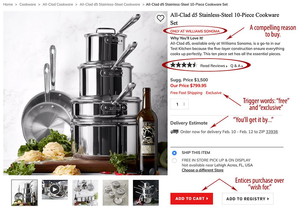 Williams Sonoma All Clad page features