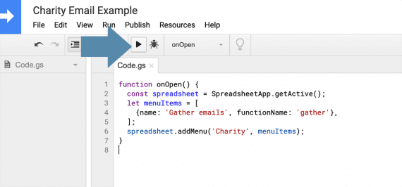 The run button allows us to execute a selected function within the script editor.