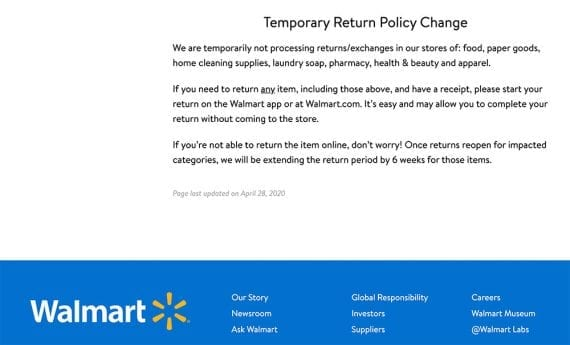 """Walmart's new return and exchange policy states, """"We are temporarily not processing returns/exchanges in our stores of: food, paper goods, home cleaning supplies, laundry soap, pharmacy, healthy & beauty and apparel."""""""