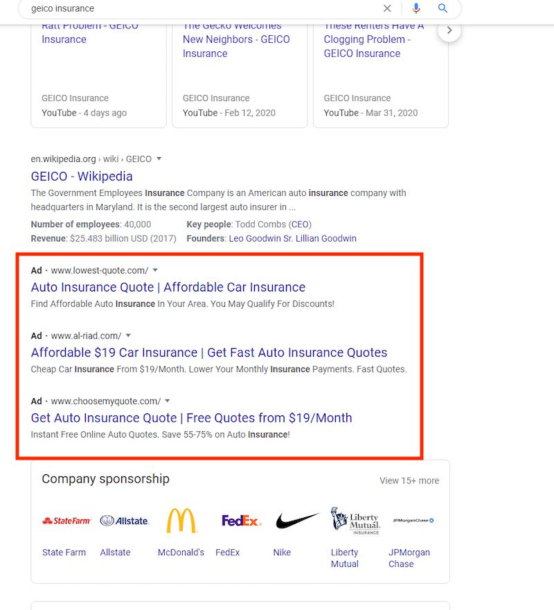 The ads at the bottom of the search results focus on low cost.