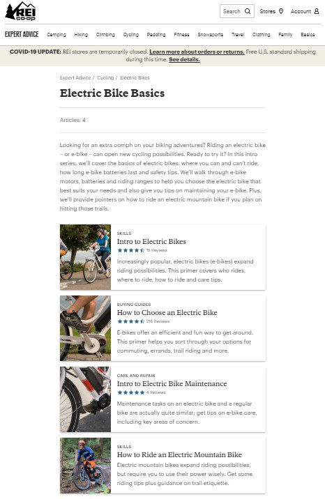 REI's electric bikes navigational pillar page introduces the topic and then links to each cluster page.