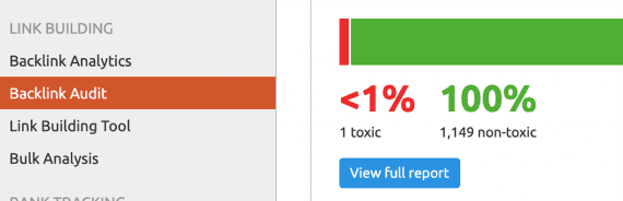 SEMrush and similar tools can generate backlink audits to identify toxic backlinks.