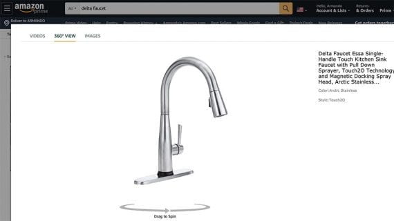 Amazon allows third-party sellers, including DTC businesses such as Delta Faucets, to add 360-degree product animations.