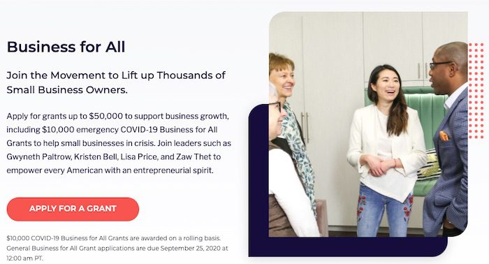 Business For All offers $10,000 emergency grants to small businesses affected by Covid-19.