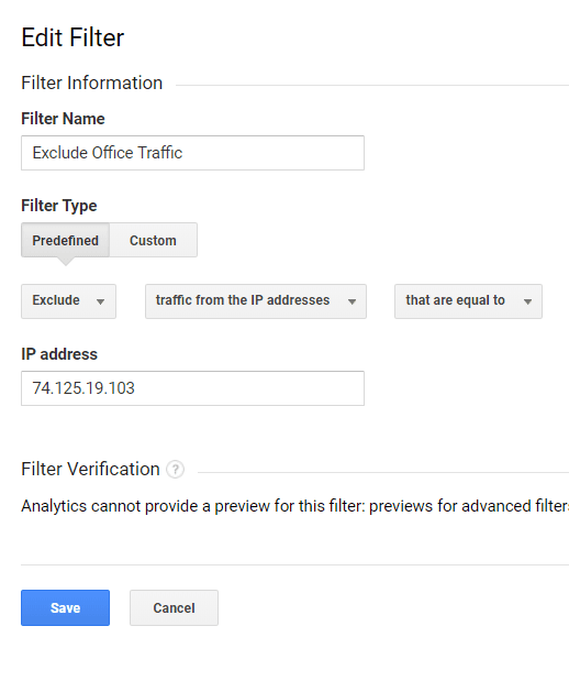 """Use descriptive names for IP filter — such as """"Exclude Office Traffic"""" or """"Exclude My Home IP Address"""" — instead of repeating the IP address."""
