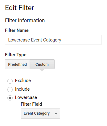 Uppercase and lowercase filters clean up the inconsistent case in Events, Pages, Campaigns, and more.