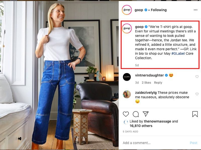 It's clear from the caption that the t-shirt in this image is from Goop, a clothing retailer.