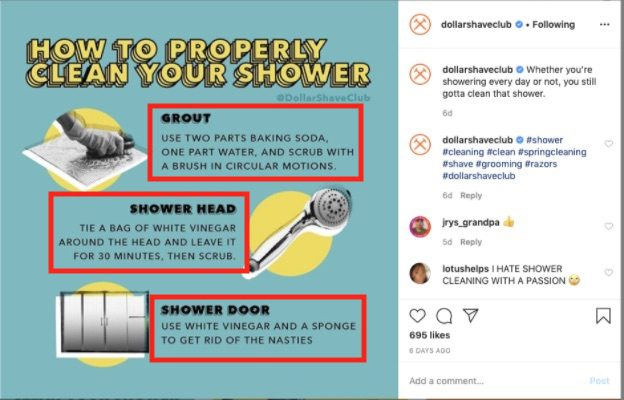 Dollar Shave Club includes text, such as how-tos and tips, in Instagram images — enticing shoppers to stop scrolling and read.