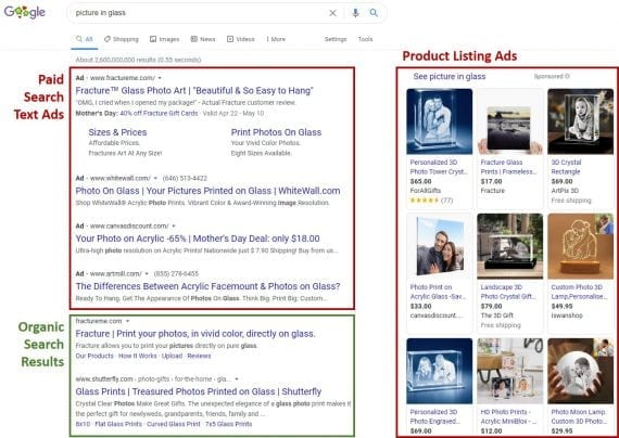 """Google's U.S. search results page on a laptop computer for the query """"picture in glass."""""""