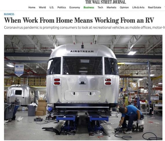 The Wall Street Journal's audience is investors and business professionals who might be interested in the market for RVs, not vacations.