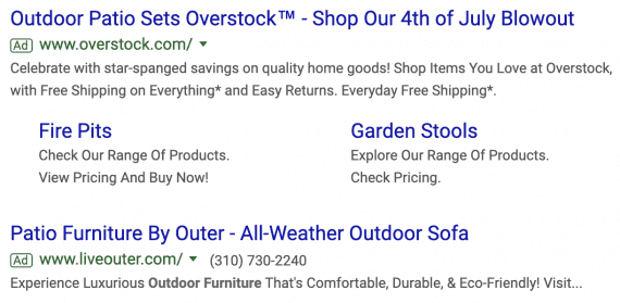 "In this example, both ads show just two headlines. The description for the second ad (""Patio Furniture by Outer"") is cut off."