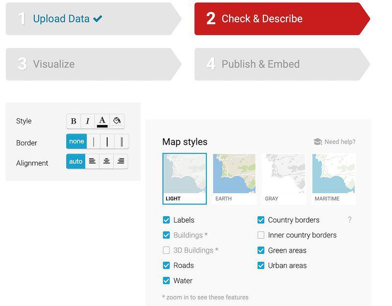 """Creating charts in Datawrapper involves four steps: """"Upload Data,"""" """"Check & Describe,"""" """"Visualize,"""" and """"Publish & Embed."""""""