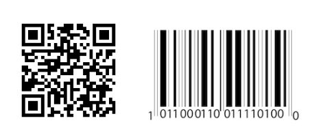 A QR barcode (at left) organizes data horizontally and vertically. A linear barcode (at right) stores data only horizontally.